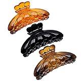 3 Couleurs Pince à Cheveux Antidérapantes Tenue Forte Femmes Filles Grand Hair Clips Barrettes à Griffe Salon de Coiffure Outil Accessoires de Cheveux de Mode Noir Brun Orange