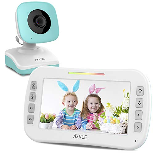 Video Baby Monitor with Wide Screen and Night Vision, Two Way Talk, Long Range Connection, No WiFi Needed, Caring for Elder, Home Security Protect by Axvue, Pink, Model E9620-B Monitors