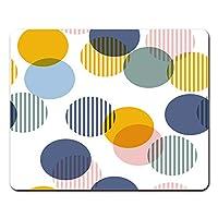 Onete 水玉マウスパッド レトロなヴィンテージブラシストローク水玉マウスパッド サークル幾何学的な虹の抽象的なカラフルマウスパッドノートブック、デスクトップコンピュータのマウスマット、オフィス用品
