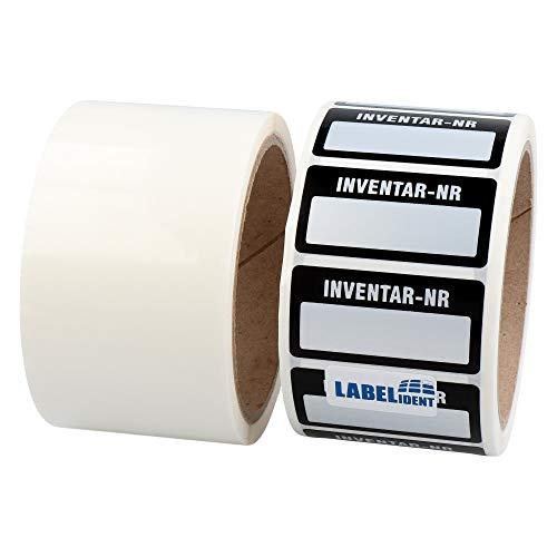 Labelident Inventaretiketten ink. Schutzlaminate - Inventar-Nr.: - 51 x 25 mm - 500 Inventaraufkleber auf 1 Rolle(n), Polyester VOID-Effekt silber, selbstklebend