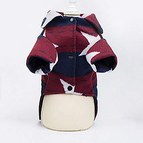 Hundewelpen-Katze Netter Mantel Haustier-Kleidung Herbst und Winter New Hundekleidung Teddy Spitz Bichon Welpen Kleidung Rote Wollmantel (Color : Red, Size : XXL)