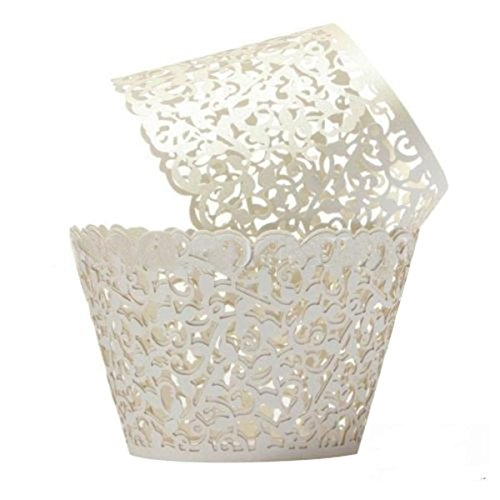 Saitec ® Cream Ivory Cupcake Wrappers 100 Filigree Artistic Bake Cake Paper Cups Little Vine Lace Laser Cut Liner Baking Cup Muffin Case Trays for Wedding Party Birthday Decoration