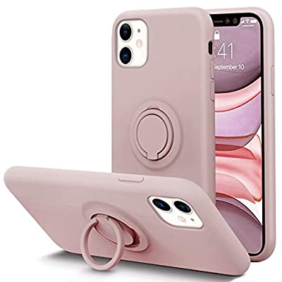 KUMEEK for iPhone 11 Case Fingerprint | Kickstand | Anti-Scratch | Microfiber Liner Shock Absorption Gel Rubber Full Body Protection Liquid Silicone Case for iPhone 11- Sand Pink