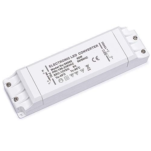 Yafido Led Trafo 230V (AC) auf 12V (DC) 60W 5A Driver Leuchtmittel Transformator Für G4 MR11 MR16 GU5.3 LED Birne sowie Lichtstreifen Treiber
