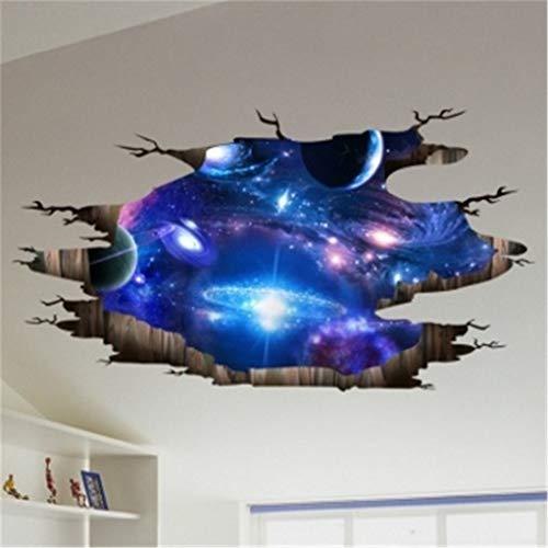 SEVENHOPE 3D Space Wall Stickers-Galaxy Boden Wandtattoos - Abnehmbare Wanddekorationen für Kinder Schlafzimmer Decke Wohnzimmer Foto Farbe