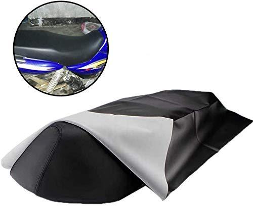 Rubyu Motorrad Leder Sitzbezug, Universal Verschleißfeste Anti-Rutsch DIY Sitzbezug Sitzbankbezug, Schwarz Matt 100 x 70 cm