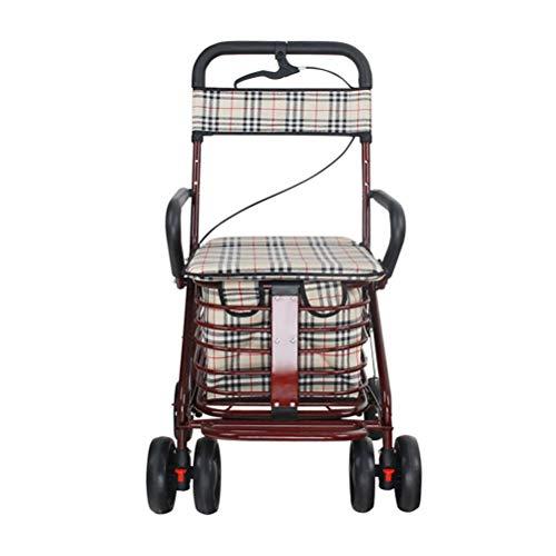 GYC Tragbarer Einkaufswagen für das Home-Office-Einkaufswagen Der ältere Rollersitz kann die vierrädrigen Lebensmittel Schritt für Schritt schieben