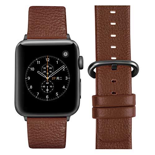 Fullmosa kompatibel Apple Watch Armband 44mm und 44mm,Leder Uhrenarmband Ersatzband für Apple Watch Series SE/6/5/4/3/2/1,42mm/44mm Braun+graue Schnalle