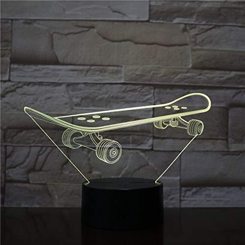 Led Nachtlicht Skateboard 3D Optical Illusion Lampe Nachttischlampe Für Kinder 7 Farben Ändern Mit Touch + Fernbedienung,Kinder Schlafzimmer Weihnachten Geburtstagsgeschenke