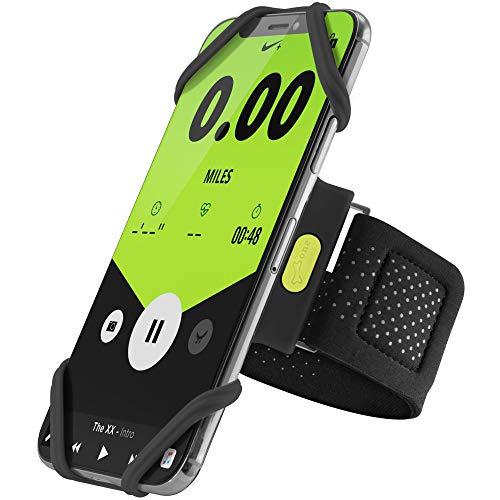 Bone Sportarmband für Handy, Federleichtes Handy Armband zum Joggen Handytasche Laufen, Handyhalter Arm für iPhone 12 Pro Max Mini 11 Pro Max XS XR X 8 Samsung Galaxy Huawei - Schwarz (L)