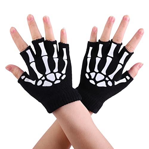 Cooraby 2 Pairs Kids Skeleton Gloves Glow in The Dark Fingerless Knitted Gloves