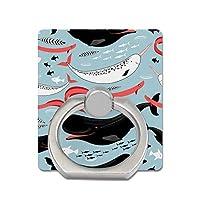 スマホスタンド クジラ アニマル柄 タブレットホルダー 方形 落下防止 スマホリング 指輪型 バンカーリング 携帯リング 360度回転 スタンド機能 リングスタンド 片手操作 薄型 ホールドリング 耐磨耗 滑り止め