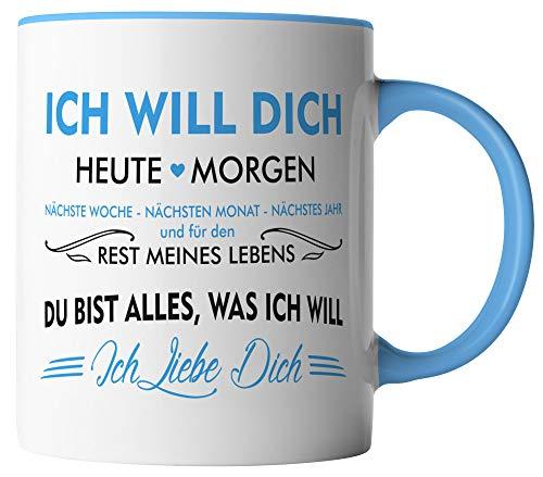 vanVerden Tasse - Ich will dich heute & morgen Ich liebe dich - beidseitig Bedruckt - Geschenk Idee Valentinstag mit Spruch, Tassenfarbe:Weiß/Blau