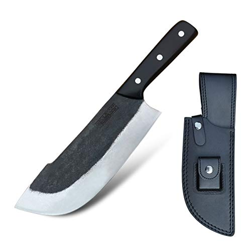 Machete Forged Chopping Knife 8-Inch Camping Knife - Chopper Knife Cleaver - Butcher Knife Full-tang - Forged 1095 High Carbon Steel 60HRC, for Outdoor Kitchen Chefs Butcher with Sheath