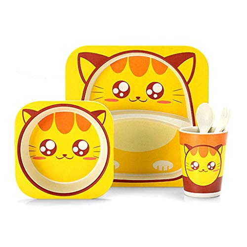 WOHAO Vajilla de Fiesta Infantil Plato de Comida de los niños, del hogar Gota Prueba de Alto Valor de bebé tazón de Cinco Piezas Set sin BPA (Color: Abeja) (Color : Cat)