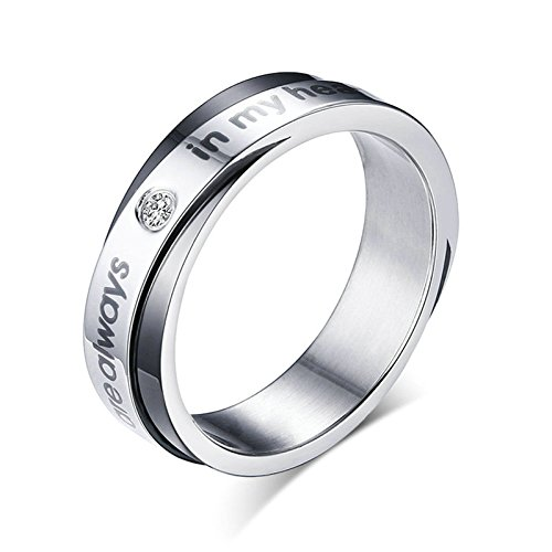 Onefeart Mujeres Titanio Anillos de bodas,'You are always in my Heart' 5MM&6MM Negro tamaño 22 (19,74 mm)
