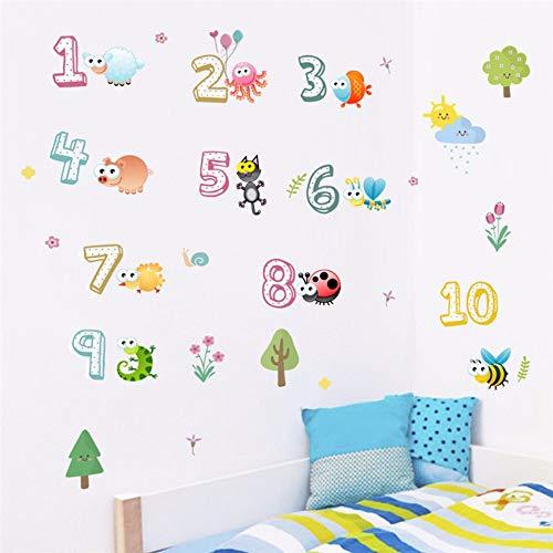 Muurstickers, motief: schattige dieren met Arabische cijfers muurstickers voor kleuterschool Classroom Kids Room Home Decoration Nursery Mural Art Wall Decal
