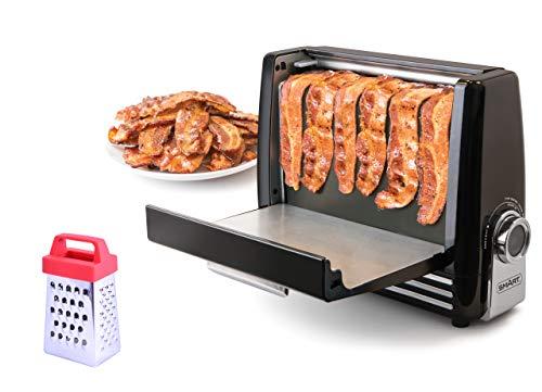 SMART Bacon Express Tostador de beicon con minirallador incluido, la manera más saludable de cocinar un beicon perfecto
