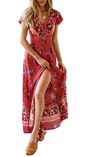 PRETTYGARDEN Women's Summer V Neck Wrap Vintage Floral Print Short Sleeve Split Belted Flowy Boho Beach Long Dress (129 Red, Medium)