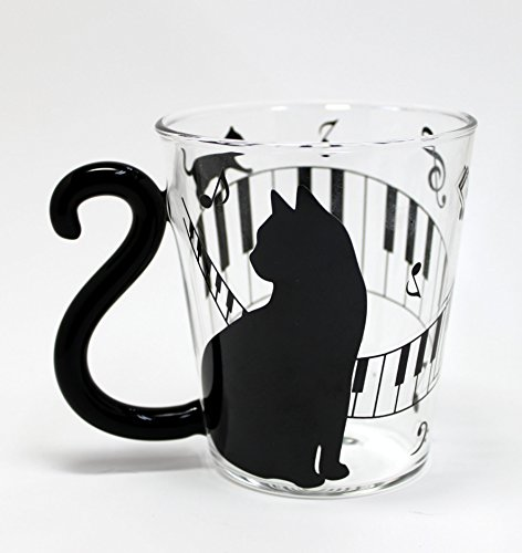 Produktbild Japanische Tasse Paar (Glas) (schwarz Katze / Piano Stecker) von Artha at-ar0604125
