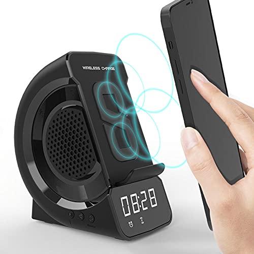 ALEAR El Cargador De TeléFono MóVil InaláMbrico MóVil 3 In 1 Altavoz Bluetooth, Alarmas de Radio De Reloj MóVil, Relojes de Radio de Reloj Cargadores Inalambricos Amanecer Alarma Inducción 15W