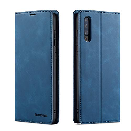 QLTYPRI Hülle für Samsung Galaxy A50, Premium Dünne Ledertasche Handyhülle mit Kartenfach Ständer Flip Schutzhülle Kompatibel mit Samsung Galaxy A30S A50 A50S - Blau