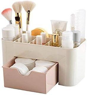 Hojo Cosmetic Storage Box Multi Functional Desktop Tidy Organiser Holder with Drawer Random Colour with Free Covid Key