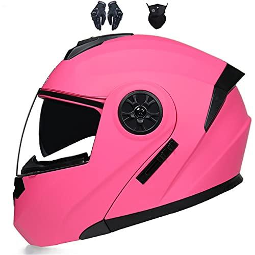 YXHM Casco de moto con capucha para hombre y mujer (rosa, M)