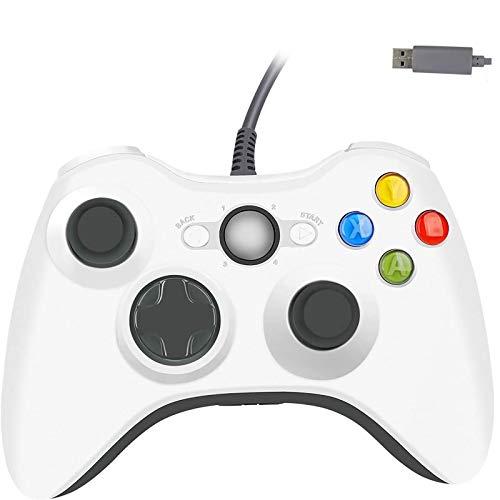 Manette Filaire pour Xbox 360 Cable de 2.2m Double Vibration USB Gamepad Contrôleur pour Xbox 360 (Blanche)