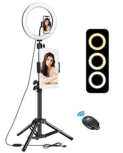 "ELEGIANT Anillo de Luz Trípode LED 10"", Aro de Luz con Trípode Soporte 1.34 m para Tableta/Móvil con Control Remoto Bluetooth, 3 Modos Luz + 11 Niveles Brillo para Tiktok Live Selfie Volg Youtube"