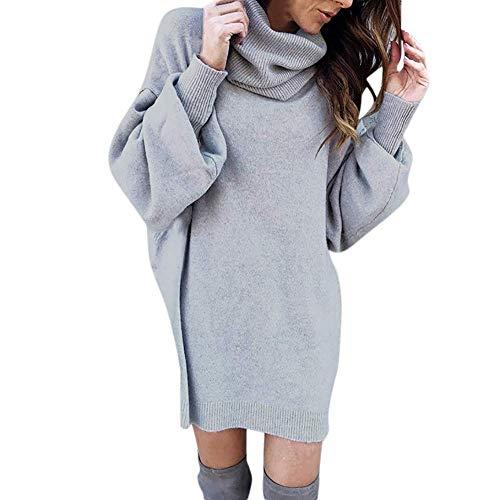 Señoras Linterna Base De Manga Larga Suéter Moda Cuello Vintage Mujeres Sólido Alto De Punto Cálido Suéter Largo Blusa Gris Claro (Color : Grau, Size : L)