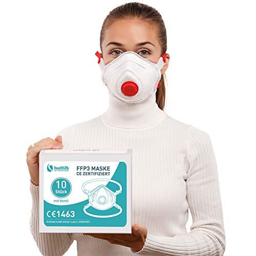 health2b FFP3 Maske CE Zertifiziert [10 Stück] CE1463 Atemschutzmaske Mundschutz mit Ventil, DERMATEST® sehr gut