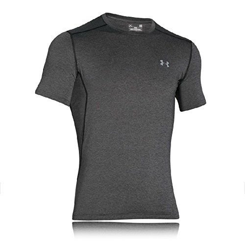 Under Armour Herren UA RAID Short Sleeve atmungsaktives Sportshirt, kurzärmliges und schnelltrocknendes Trainingsshirt mit enganliegender Passform, Grau, Medium