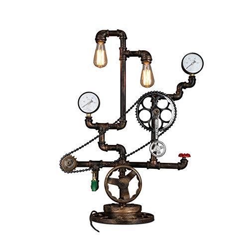 Industriële vloerlamp van smeedijzer, 2 lampen decoratieve LED-transmissieverlichting vintage bureaulamp vloer antiek bar woonkamer kleding winkel allee floor lamp
