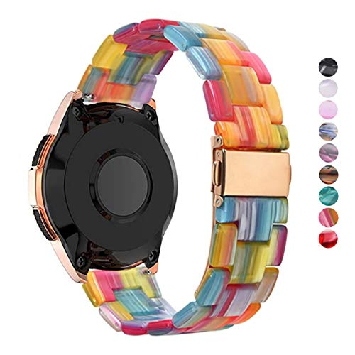 DEALELE Correa Compatible con Galaxy Watch 42mm / Active/Active 2 40mm 44mm, Reemplazo de Correa de Resina Colorida 20mm para Samsung Gear Sport/Huawei Watch GT2 42mm, Arco Iris