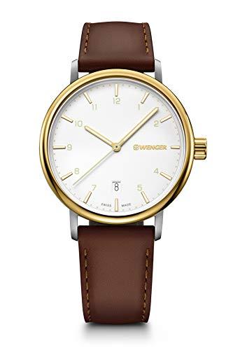 Wenger Urban Classic - 40 mm, weißes Zifferblatt, Lederarmband, Uhr für Herren