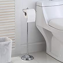 SunnyPoint Bathroom Free Standing Toilet Tissue Paper Roll Holder Stand with Reserve Function, Chrome Finish