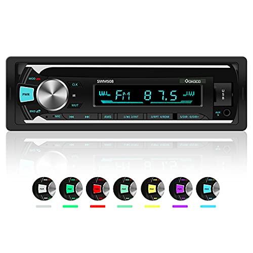 Autoradio Bluetooth, GOKOCO 7 Farben Licht Einstellbar Autoradio mit Bluetooth Freisprecheinrichtung, Unterstützt USB-Aufladung / AUX / TF / FM MP3 Player