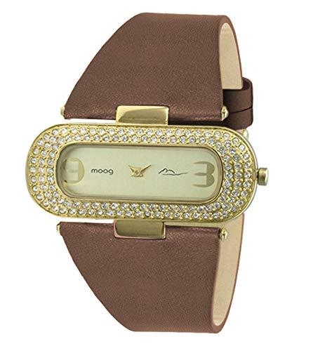 Moog Paris Glam Reloj para Mujer con Esfera Dorada, Correa Bronce de Piel Genuina y Cristales Swarovski - M44088-011