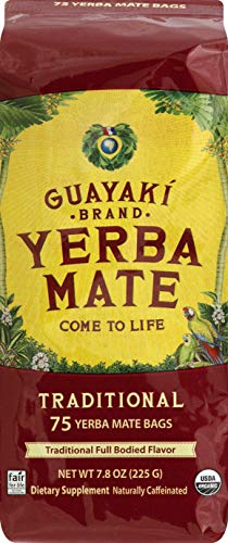 Guayaki Yerba Mate | Organic Alternative to Herbal Tea, Coffee and Energy Drink | Traditional Bags | 40 mg of Caffeine per Serving | 75ct | 7.9 Oz