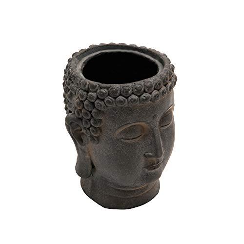 Sagebrook Home 13029-09 Resin 9' Buddha Flower Pot, Black, 8''L x 8''W x 9''H