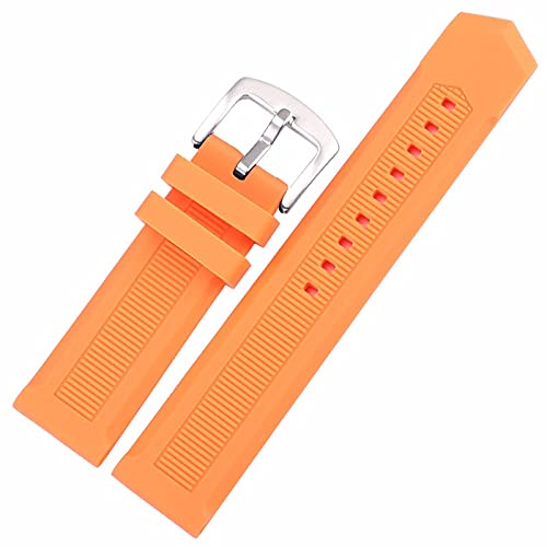 Nostalgie Correa de Reloj Silicona de Goma Reloj de Banda 22mm Mujeres Hombres Buceo Negro Naranja Reloj Reloj de Reloj Banda Pulsera Acero Inoxidable Cierre de Metal Reemplazo