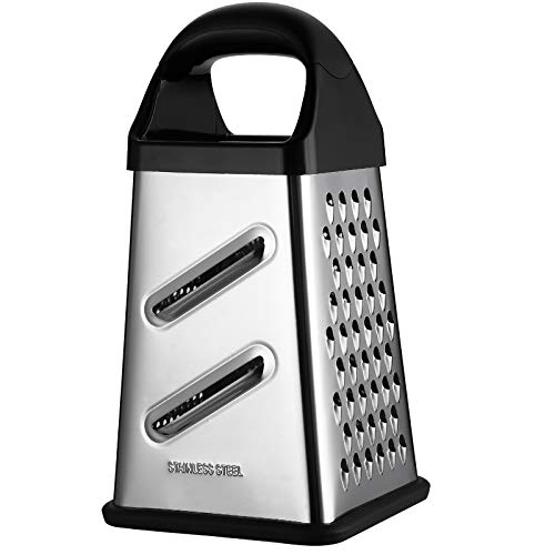 GUANCI Professional Box Grater 4Sided Stainless Steel Large 10inch Grater for Parmesan Cheese Ginger Vegetables,fruits chocolate nuts and more