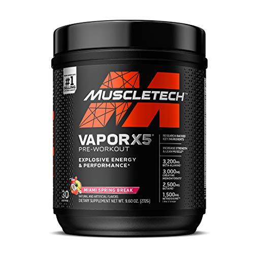 Pre Workout Powder   MuscleTech Vapor X5   Pre Workout Powder for Men & Women   PreWorkout Energy Powder Drink Mix   Sports Nutrition Pre-Workout   Miami Spring Break (30 Servings)-Package Varies