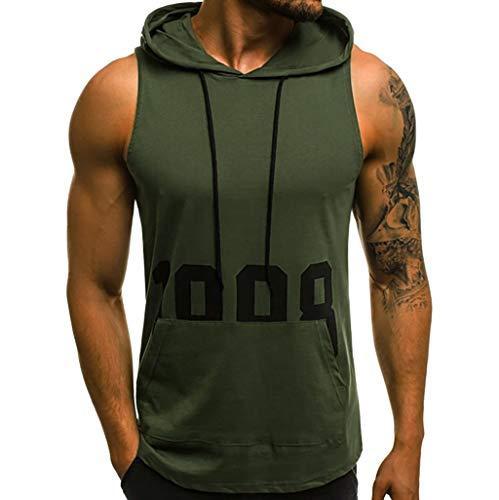 JiaMeng Camisetas Elástica de Fitness sin Mangas Tank Top Gym para Hombre Fitness Muscle Estampado sin Mangas con Capucha Culturismo Bolsillos de Secado Ajustado