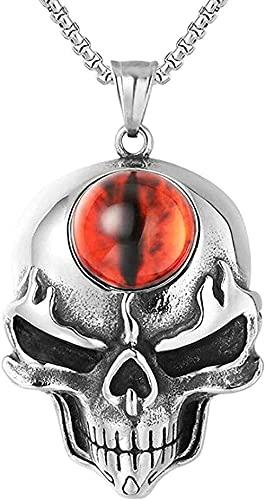 Yiffshunl Collar Collar Personalizado Calavera T con Piedra Natural Collares de Acero Inoxidable Regalo Joyería para Hombre Collar Punk Regalos
