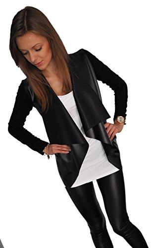 Mikos*Damen Elegant Lederimitat-Strickjacke Blazer Cardigan Streetwear Sexy Look S M L XL (192) (L)