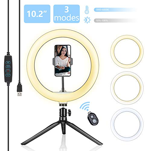 "Selfie Ring Light with Tripod Stand, 10.2"" Desktop LED Makeup Ring Light, Phone Holder for YouTube Video, Live Stream, Shooting, Dimmable Selfie Ring Light with 3 Light Modes & 14 Brightness Level"