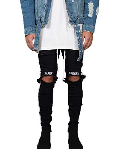 Hombre Pantalon Vaqueros Hombres Slim Fit Motorrad Vintage Denim Pants Hip Hop Streetwear Pantalones Vaqueros con Flecos Pantalon Deporte