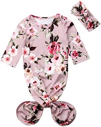 Infant Newborn Baby Floral Sleeping Bag Swaddle Blanket with Headband Outfits Grey 0 6 Months product image
